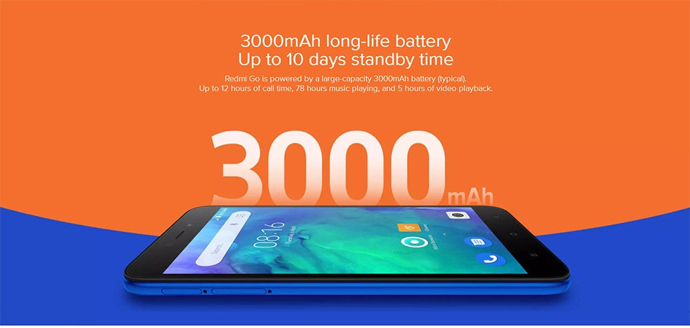 Xiaomi Redmi Go 4G Smartphone 5.0 inch Android Go OS Snapdragon 425 Quad core 1.4GHz 1GB RAM 8GB ROM 8.0MP Rear Camera 5.0MP Front Camera 3000mAh Built-in- Black