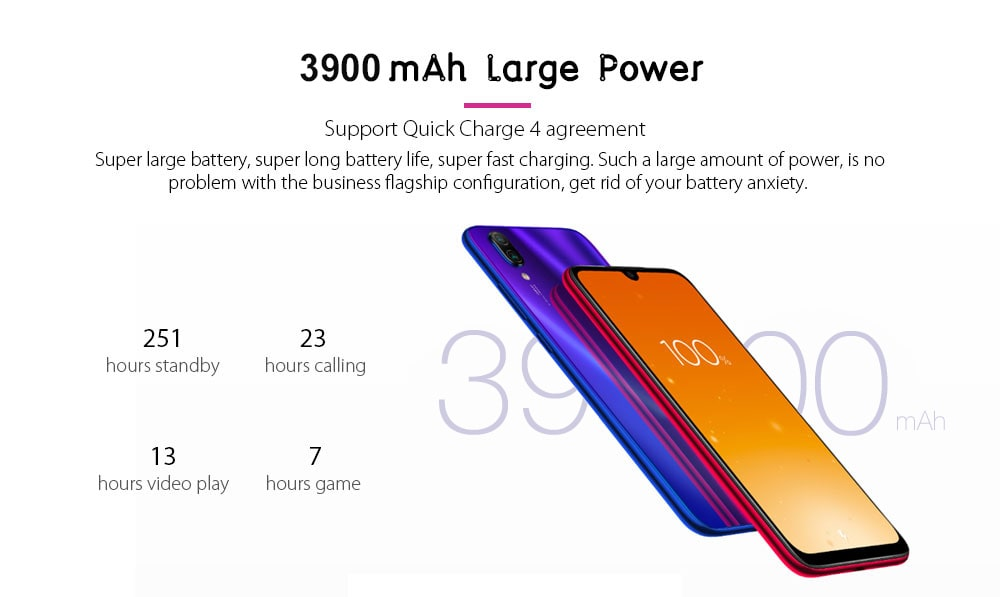 Xiaomi Redmi Note 7 4G Phablet 6.3 inch MIUI 10 ( Android 9.0 Pie ) Qualcomm Snapdragon 660 Octa Core 2.2GHz 3GB RAM 32GB ROM 48.0MP + 5.0MP Rear Camera Fingerprint Sensor 3900mAh Built-in- Blue