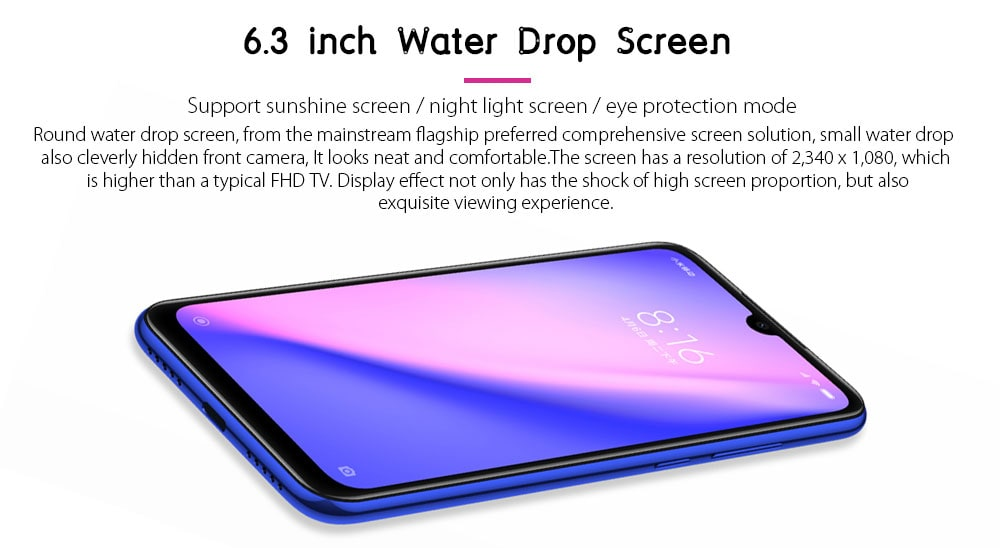 Xiaomi Redmi Note 7 4G Phablet 6.3 inch MIUI 10 ( Android 9.0 Pie ) Qualcomm Snapdragon 660 Octa Core 2.2GHz 3GB RAM 32GB ROM 48.0MP + 5.0MP Rear Camera Fingerprint Sensor 3900mAh Built-in- Blue