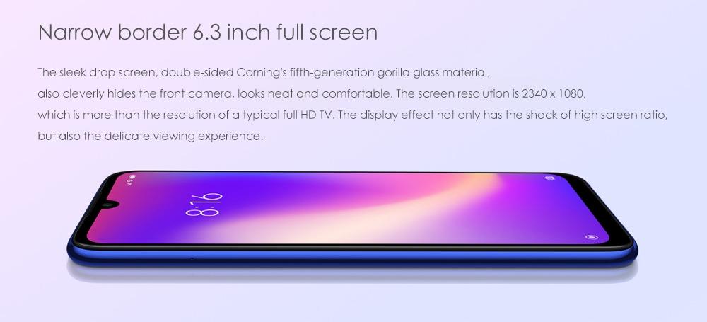 Xiaomi Redmi Note 7 Pro 4G Phablet 6.3 hüvelykes Android 9.0 Qualcomm 675 Octa Core 2.0GHz 6GB RAM 128GB ROM 48.0MP + 5.0MP hátsó kamera ujjlenyomat-érzékelő 3900mAh Beépített kék