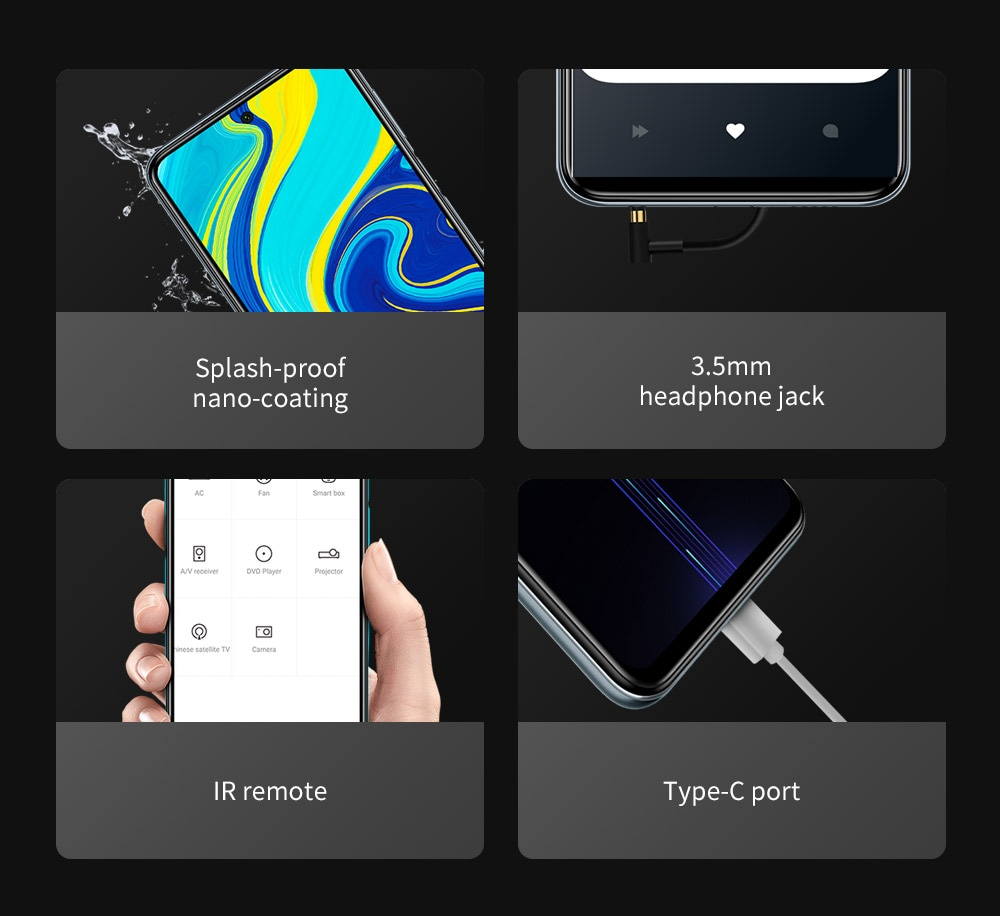 Xiaomi Redmi Note 9S okostelefon A Redmi sorozat globális verziójú EU csatlakozójának legújabb okostelefonja - fehér 6 GB + 128 GB