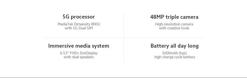 Xiaomi Redmi Note 9T 5G okostelefon média Tek Dimensity 800U Octa Core 6,53 hüvelykes hátsó kamerák 48MP + 2MP + 2MP akkumulátor 5000mAh globális verzió - fekete 4 + 64GB
