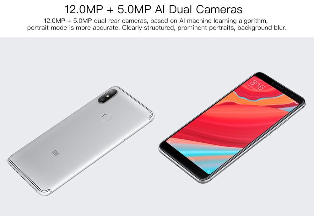 Xiaomi Redmi S2 4G Phablet 5.99 hüvelykes MIUI 9 Qualcomm Snapdragon 625 Octa Core 2.0 GHz 4 GB RAM 64 GB ROM 12.0 MP + 5.0 MP Hátsó kamera ujjlenyomat-felismerés 3030mAh Beépített szürke