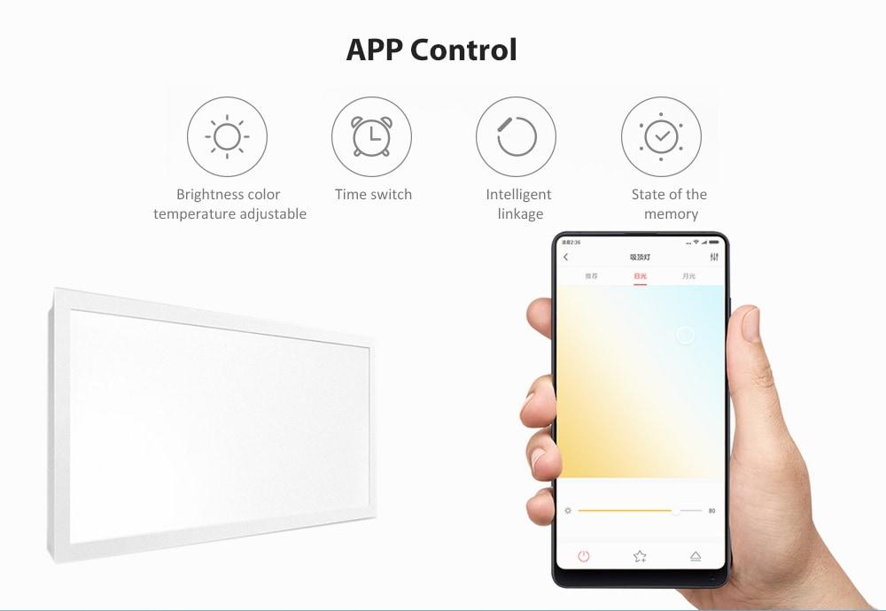 YEELIGHT YLMB06YL APP vezérlés tompítható, pormentes kialakítású intelligens LED mennyezeti panel lámpa (Xiaomi ökoszisztéma termék) - fehér 30x60cm