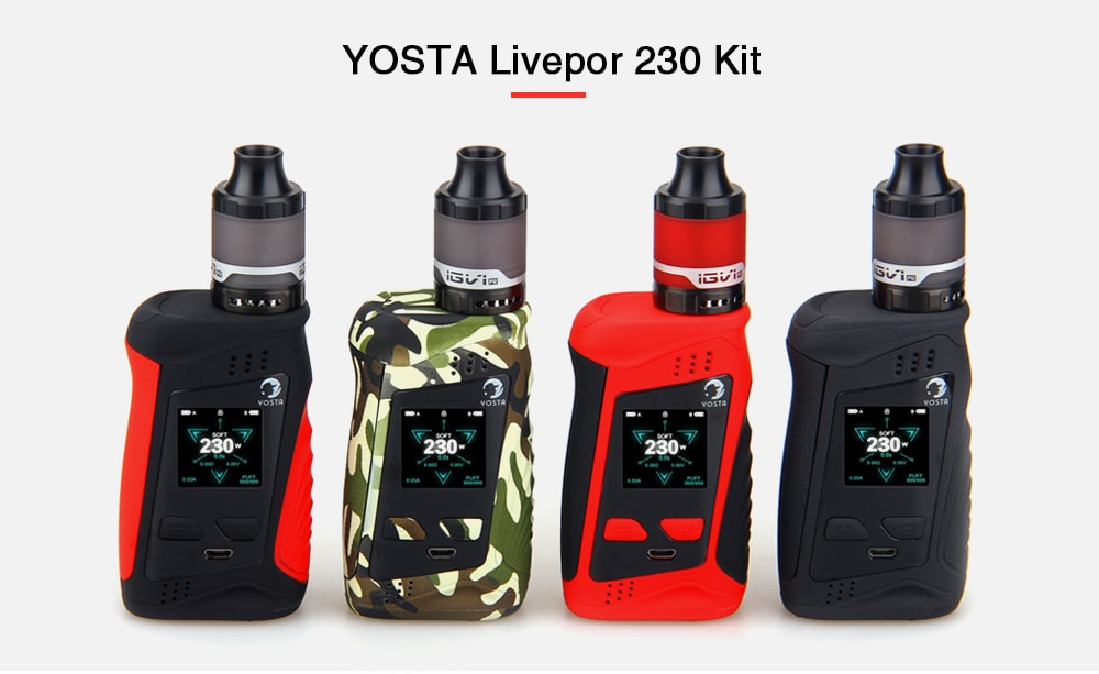 YOSTA Livepor 230 Kit Supporting 2pcs 18650 Batteries for E Cigarette- Black