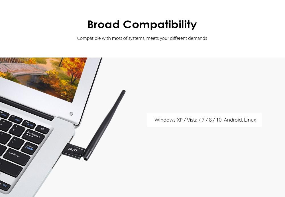 ZAPO RTL8188 USB WiFi adapter 150M hordozható hálózati útválasztó 2,4 GHz-es fekete