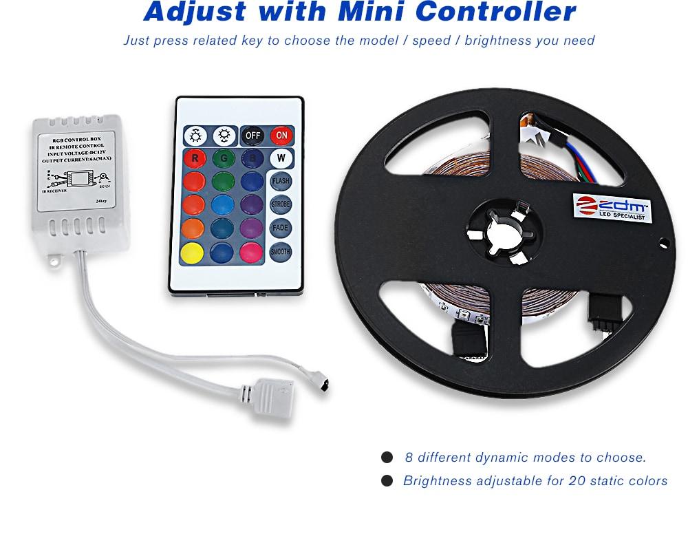 ZDM 5M 2835 RGB 300 LED Lights Strip Light with IR 24 Remote Control- RGB COLOR (24 KEYS)