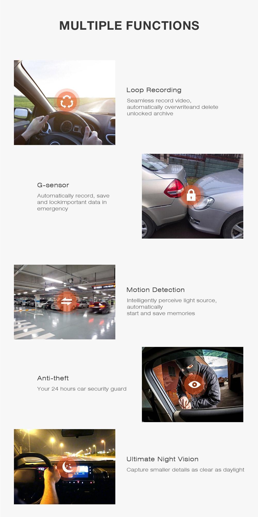 ZEEPIN G6 - 2S 170 fokos Dash Cam 10m WiFi 270 fokos esztergagép autós vezetés-rögzítő- fekete