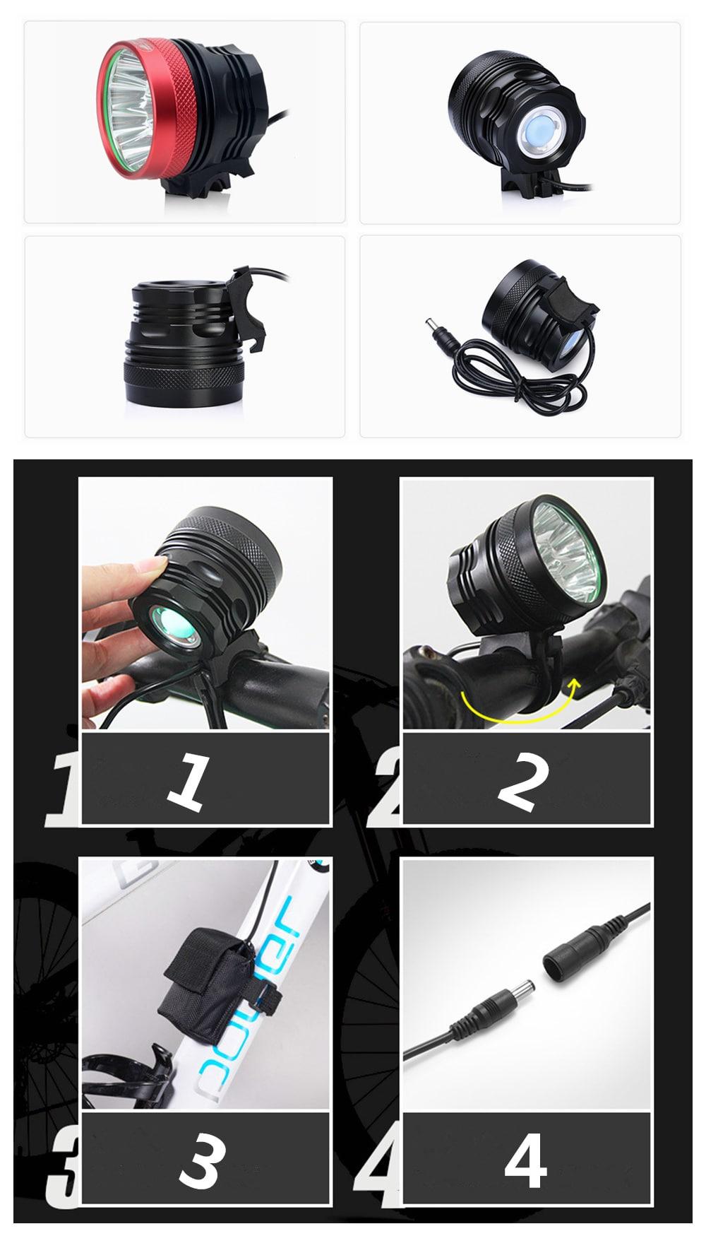 Zhishunjia B13 13-LED 3-Mode Cold White Bike Light / Headlamp-10x18650 Batteries- Red