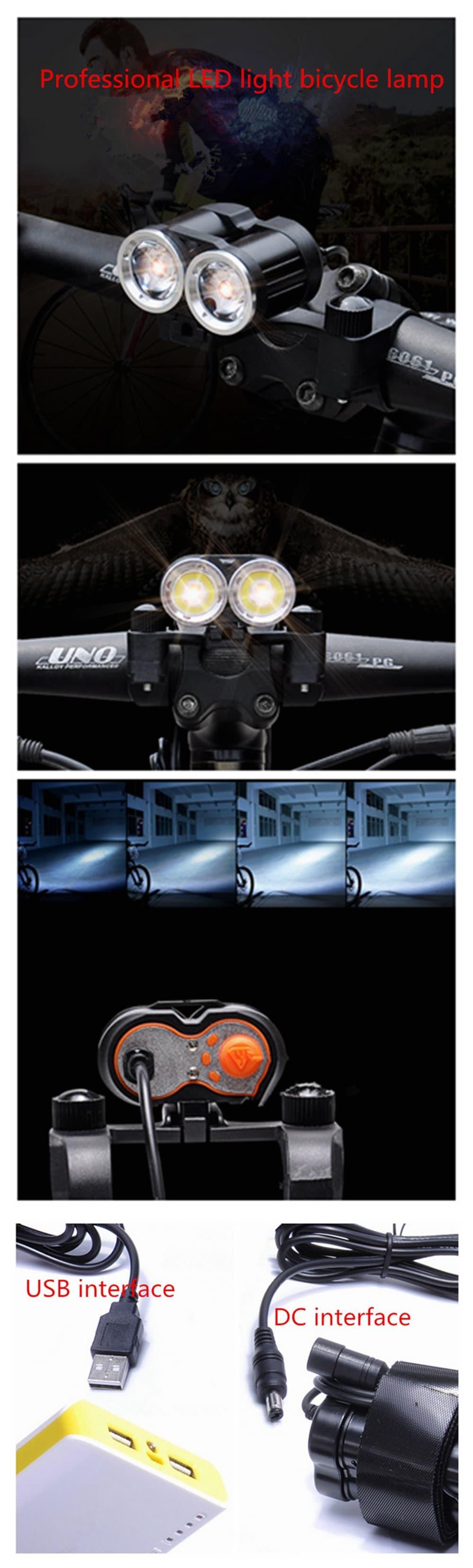 ZHISHUNJIA USB 5V CREE XML T6 2 LED 1400lm 4-Mode  Bike Light Headlamp- Black