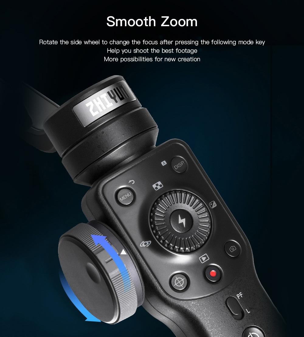 Zhiyun Smooth 4 / SMA04 stabilizáló kézimunka fókusz Pull and Zoom / PhoneGo Mode - Fekete