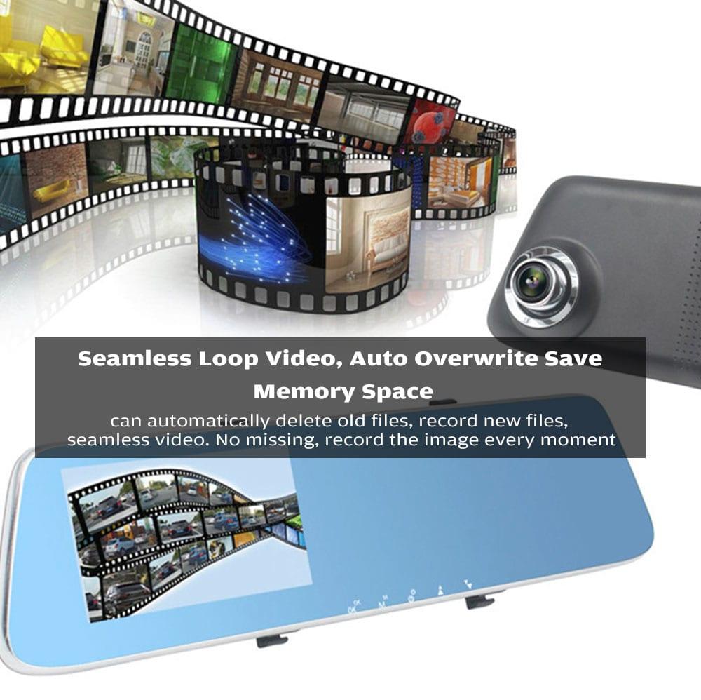 ZIQIAO JL - 907T 4,3 hüvelykes HD 1080p csillagfényes éjszakai látás kettős kamerák autó DVR és visszapillantó tükör autó DVR- szürke + fekete + kék