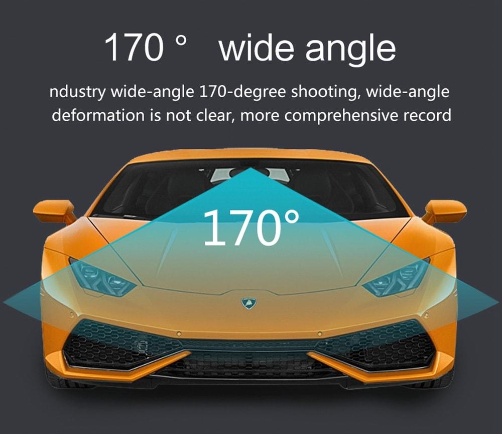 ZIQIAO JL-611 nagysebességű autós felvevő 170 fokos arany széles szögű autó DVR sport DV 3 hüvelykes képernyő 1080P- fekete
