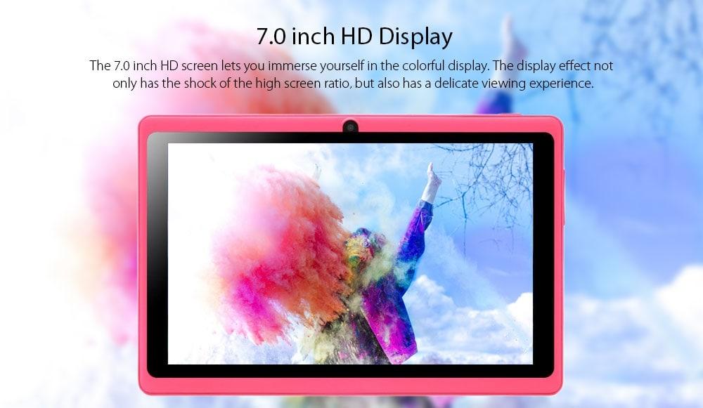 zonko x77 Gyerek Tablet PC 7.0 hüvelykes Android 7.1 RK3126C Quad Core 1.3GHz 1GB RAM 8GB RAM 2.0MP hátsó kamera OTA 2500mAh Beépített-Fekete