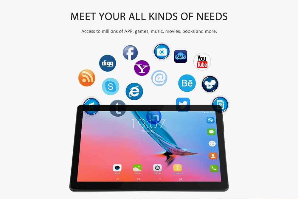 zonko ZKT1002 10,1 hüvelykes 3G Phablet / Android 6.0 OS / MTK6580 Quad Core 1.3GHz / 2GB RAM 32GB ROM / 5.0MP + 2.0MP Kettős kamerák - fekete