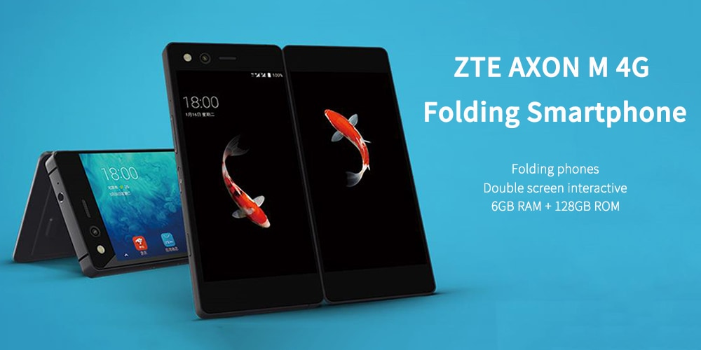 ZTE AXON M 4G Folding Smartphone 5.2 inch Android 7.1.2 MSM8996 Pro Quad Core 2.15GHz 6GB RAM 128GB ROM 0.2MP Front Camera 3180mAh Built-in- Black