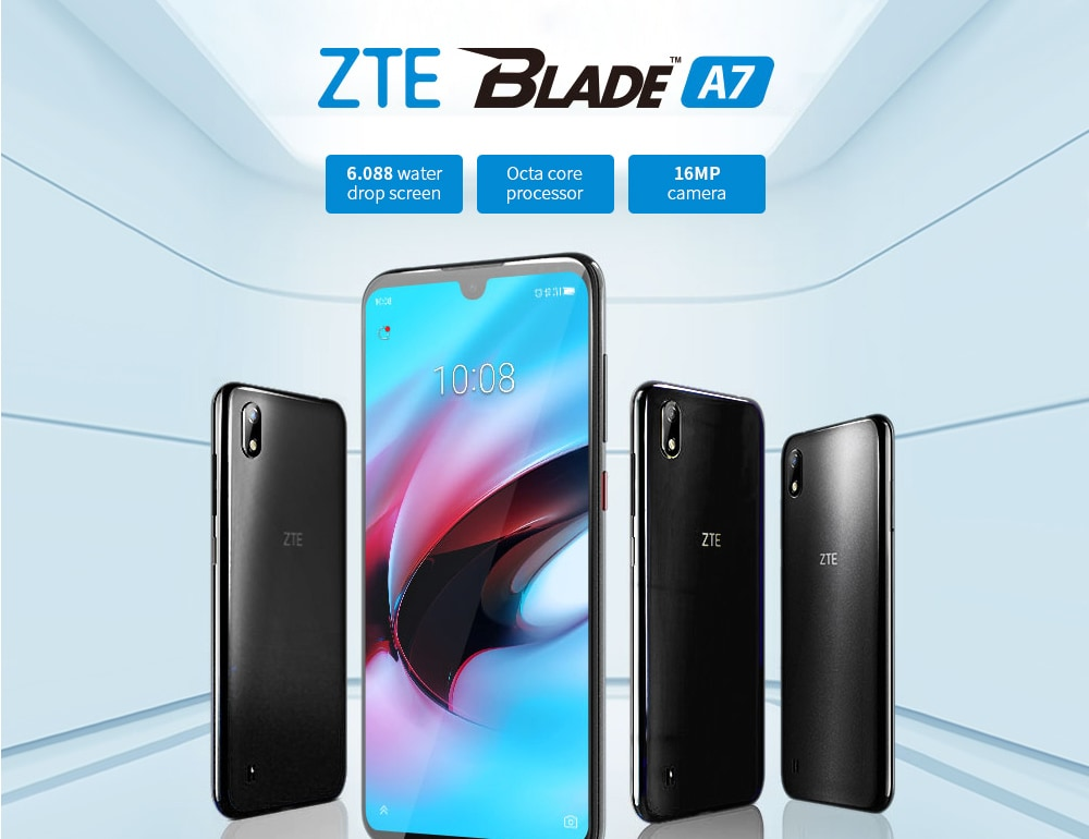ZTE Blade A7 4G Phablet 6.088 inch Android 9.0 Helio P60 Octa Core 3GB RAM 64GB ROM 16.0MP Rear Camera 3200mAh Battery- Black